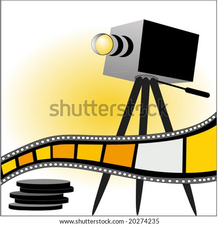 film strip with tripod - stock vector