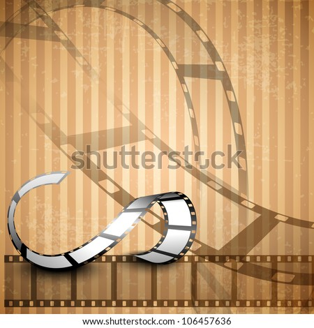 Film stripe or film reel on shiny grungy brown background. EPS 10. - stock vector