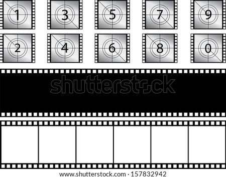 Film strips and countdown illustrated on white - stock vector