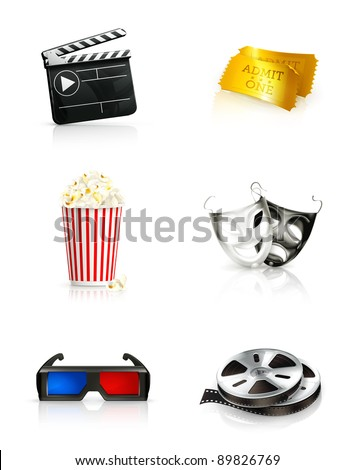 Film, vector icon set - stock vector