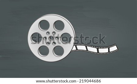 filmstrip and reel on dark background, vector