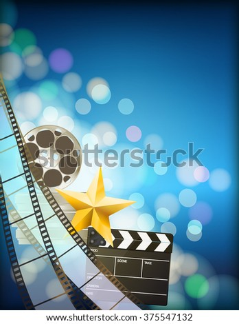 filmstrip background with clapper,reel,golden star and light effects on blue vertical background. vector - stock vector