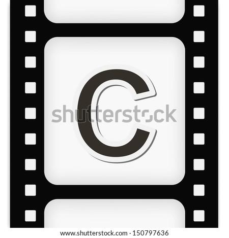 Filmstrip  the letter C - stock vector