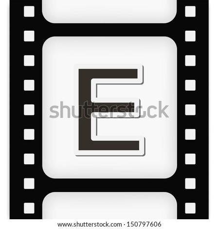Filmstrip  the letter E - stock vector