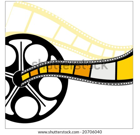 filmstrip (yellow piece behind is cut out so you can see through) - stock vector