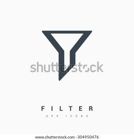 Filter funnel isolated minimal icon in black and white colors. Line vector icon for websites and mobile minimalistic flat design. Modern trend concept design style illustration symbol - stock vector