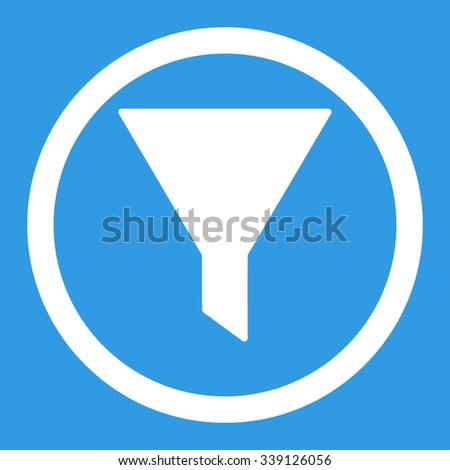 Filter vector icon. Style is flat rounded symbol, white color, rounded angles, blue background.