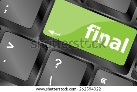 final button on computer pc keyboard key - stock vector