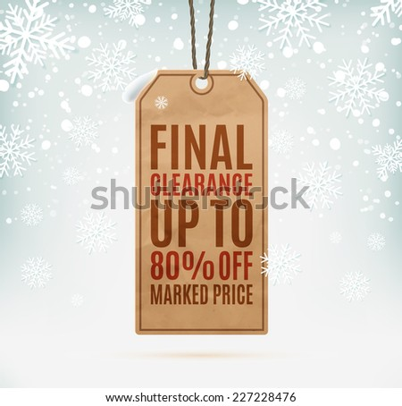 Final clearance price tag on winter background with snow and snowflakes. Vector illustration - stock vector