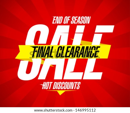 Final clearance sale design template - stock vector