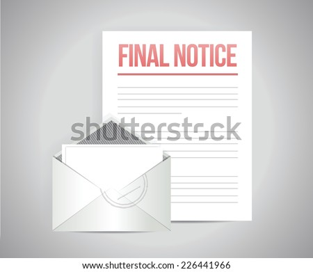 final notice documents illustration design over a white background - stock vector