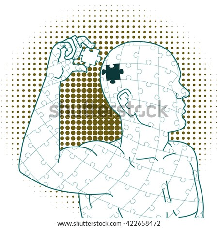 Final Piece.  A man holds the last piece of the puzzle from which he is made. - stock vector
