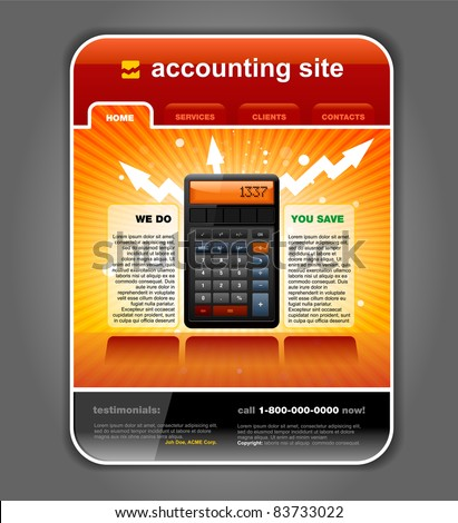 Finance Accounting Internet Web Site Page Template vector - stock vector