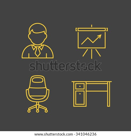 Finance and account services icons. Outline vector icons. Linear style - stock vector