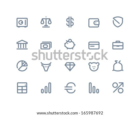 Finance and bank icons. LIne series - stock vector