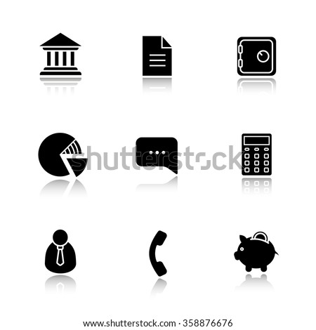 Finance and banking drop shadow icon set. Bank building and deposit box. Piggy bank and shares diagram. Client manager and calculate symbol. Investment and business illustrations. Vector logo concepts - stock vector