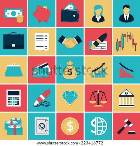 Finance and Banking flat icons set. Flat icons vector set in retro colors of finance elements for web and applications. - stock vector