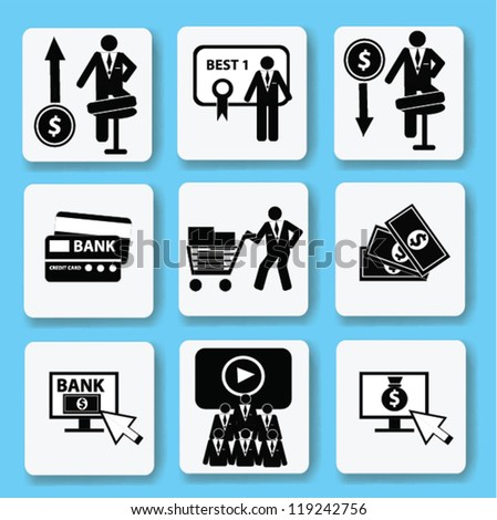 Finance and business concept,icon set,Vector - stock vector