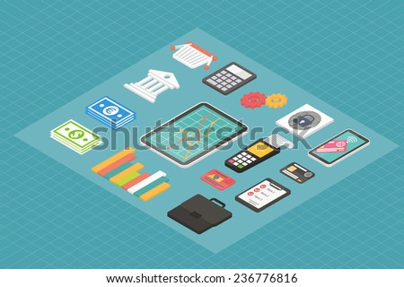 Finance and business isometric 3d icons, banking flat infographic elements. Vector set. - stock vector