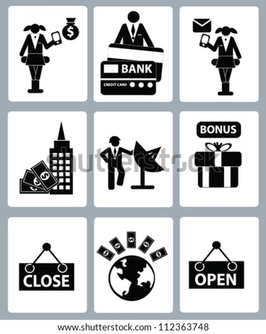 Finance and business object concept,icon set,Vector