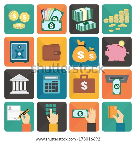 Finance and money flat design icon set, Vector illustration eps10 - stock vector