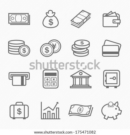 Finance and money outline stroke symbol vector icons  - stock vector