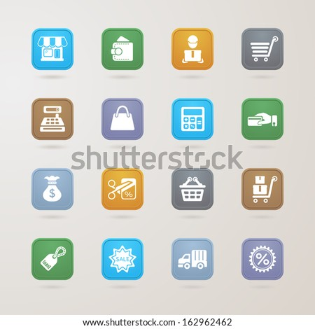 Finance and Shopping icons set - stock vector