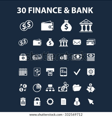 finance, bank icons set, vector for web, infographics - stock vector