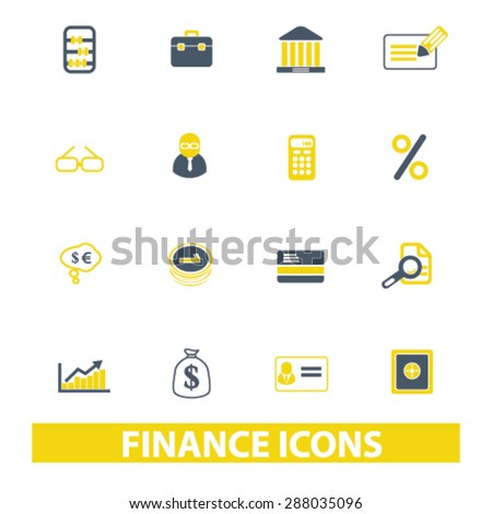 finance, bank, investment icons, signs, illustrations set, vector - stock vector