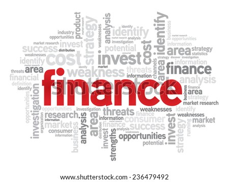 Finance business concept in word tag cloud, vector background - stock vector