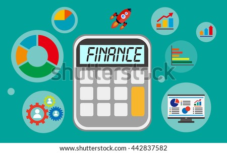 finance displayed on calculator with financial elements - stock vector