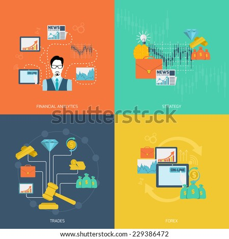 Finance exchange flat icons set with financial analytics strategy trades forex isolated vector illustration - stock vector