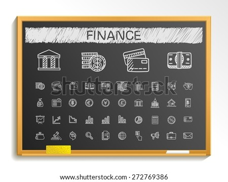 Finance hand drawing line icons. Vector doodle pictogram set: chalk sketch sign illustration on blackboard with hatch symbols: business, statistics, currency, money, payment, internet, register. - stock vector