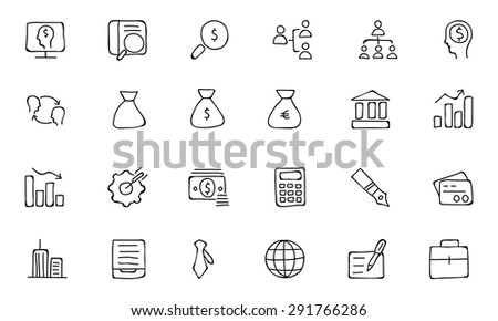Finance Hand Drawn Doodle Icons