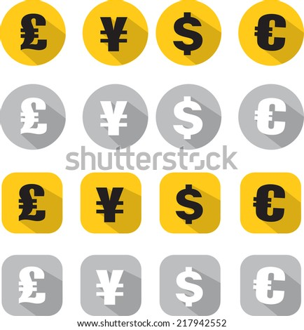 Finance Icon dollar, euro, pound sterling and yen - stock vector