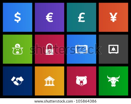 Finance icon series in Metro style - stock vector