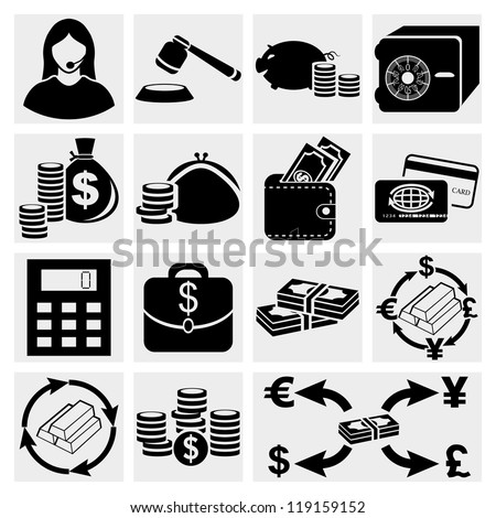 Finance icon set.Money Icon Set, vector - stock vector