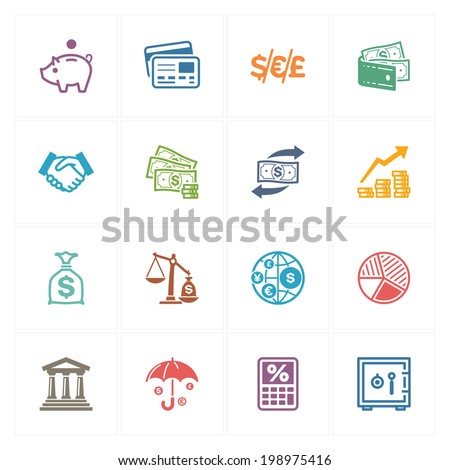 Finance Icons - Colored Series  - stock vector