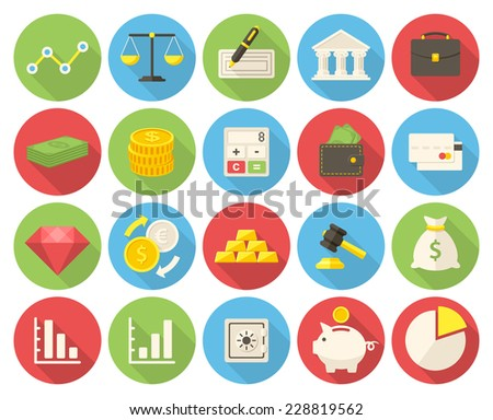 Finance icons set (flat design with long shadows) - stock vector