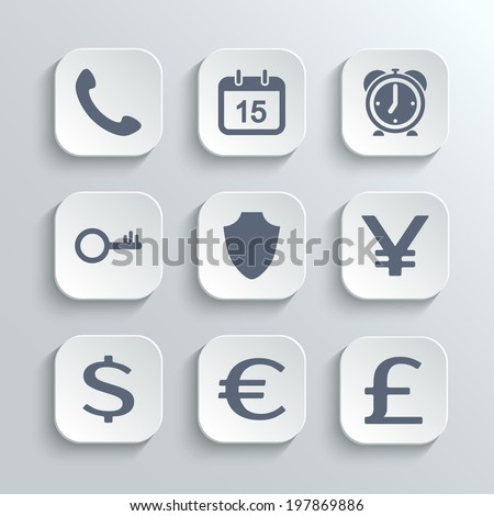 Finance icons set - vector white app buttons with phone calendar alarm clock key shield euro dollar pound yen - stock vector