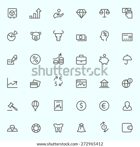 Finance icons, simple and thin line design - stock vector