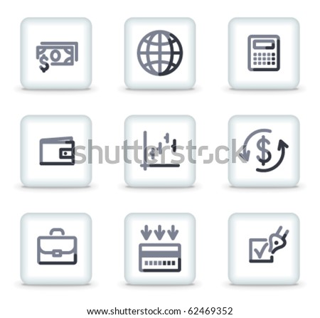 Finance icons, white square glossy buttons