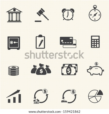 Finance Icons with texture background - stock vector