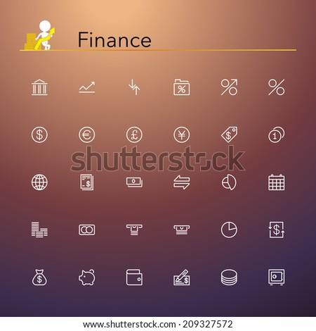 Finance line Icons set. Vector illustration. - stock vector