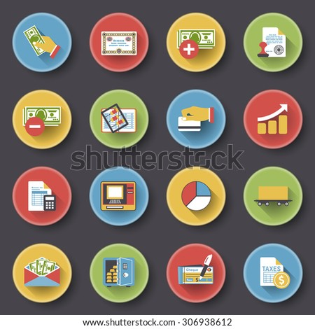 Finance modern flat color icons on black background.