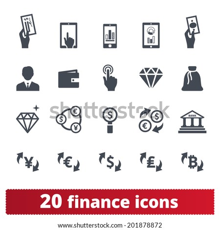 Finance, money, banking icons: vector set of business signs - stock vector