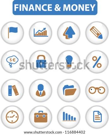 finance & money buttons, vector - stock vector