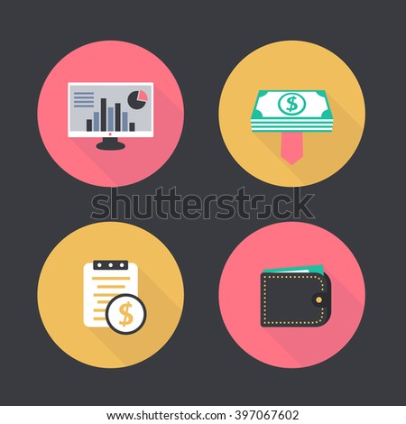 finance, payroll flat icons, payroll pictogram, wallet icon, vector illustration - stock vector