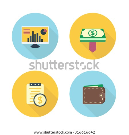 finance, payroll flat icons set, vector, eps10 - stock vector