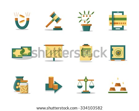 Finance stock, banking and economy. Set of colored flat vector icons. Money making concept. Web design elements for site and mobile application. - stock vector